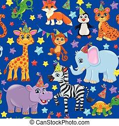 Seamless animal pattern stars birthday cone on blue