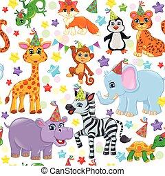 Seamless animal pattern stars birthday cone