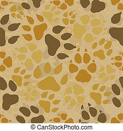 seamless animal track with gold dot glitter pattern background