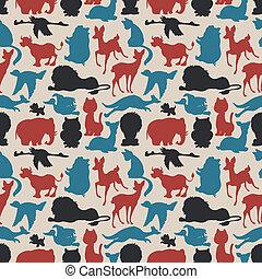 Seamless animals silhouettes - Seamless animals silhouettes...