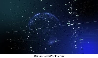 Seamless animation of global business network. Earth...