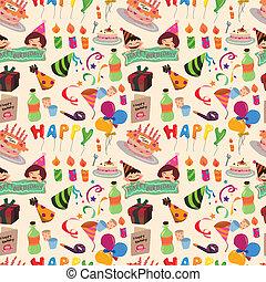 seamless, aniversário, padrão