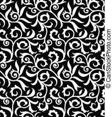 Seamless antique black and white floral pattern