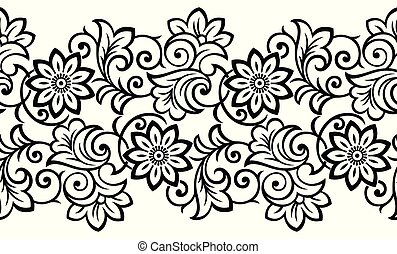Seamless antique floral border design