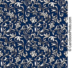 Seamless antique silver floral background