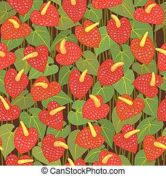 seamless anturium flower pattern background