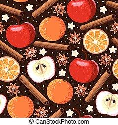 Seamless apple and orange