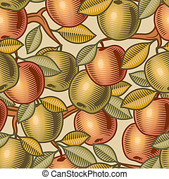 Seamless apple background in woodcut style. Vector illustration with clipping mask.