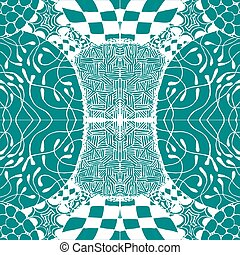 Seamless aqua tile with lacy patterns. Hand drawing in the style of sentangle. Suitable for sheathing or wrapping.