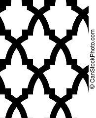 Seamless mosaic pattern in arab style, black and white.