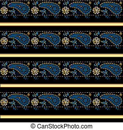 Seamless arabic pattern on black background