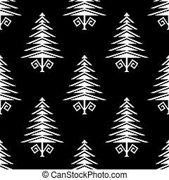 seamless, arbre, conception, forme, tribal, modèle