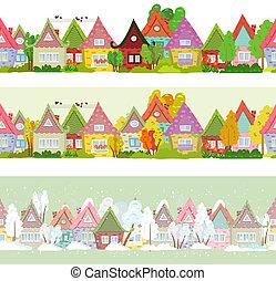 seamless, arbres, maisons, conception, vous, frontière, dessin animé