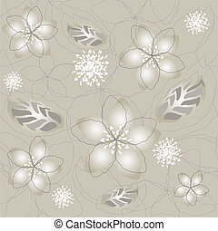 seamless, argent, fleur, papier peint
