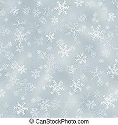seamless, argento, fondo, con, fiocchi neve