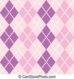 seamless, argyle, modello, in, colori pastelli, (, rosa, e, viola, )