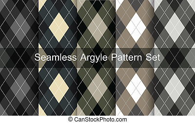 Seamless argyle pattern. Diamond shapes background. Vector set.