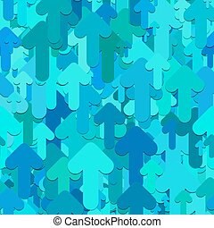 Seamless arrow background pattern - vector design from light blue rounded forward arrows with shadow effect