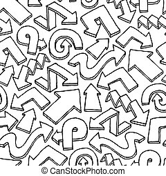 Seamless arrow vector pattern / Hand drawn background
