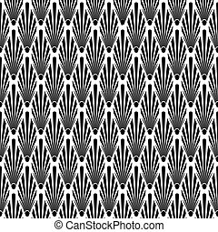 Seamless Art Deco vector pattern texture. Leaf fan pattern background.