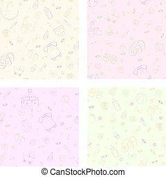 seamless, artikeln, baby, mönster, omsorg, sätta