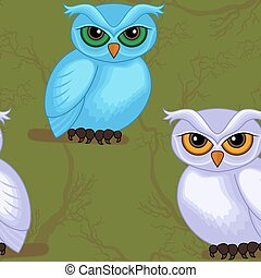 Seamless vector artwork pattern with sympathetic blue and violet cartoon owls on the dark green forest background