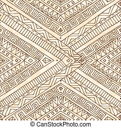 Seamless asian ethnic doodle black, white pattern.