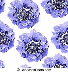 seamless, astratto, vettore, insolito, fiori, pattern., blu