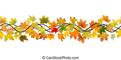 Horizontal seamless pattern of branch autumn maple leaves, vector illustration.