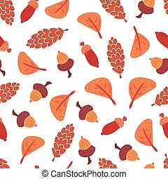 Seamless autumn leaves, cones and acorns pattern.