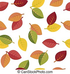 Seamless autumn leaves on a white background. vector ...