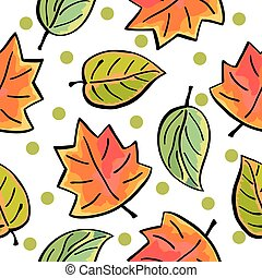 Seamless autumn leaves pattern on white background