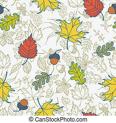 Seamless autumn leaves vector background