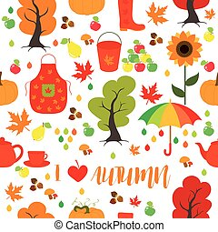 Seamless Autumn pattern, background. Set design element.