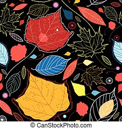 Seamless autumn pattern leaves different on a dark...