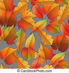 Seamless Autumn pattern orange, yellow, brown red fall forest leaves .