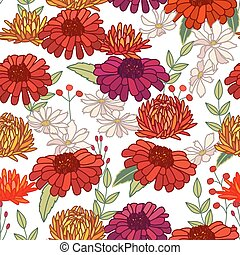 Seamless autumn pattern with asters and gerberas on white. ...