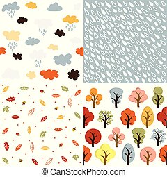 Seamless autumn patterns set vector illustration