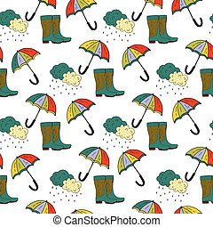 Seamless autumn vector pattern with umbrella and rubber boots.