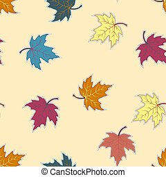 Seamless autumnal pattern with the image of colored maple leaves on a light background