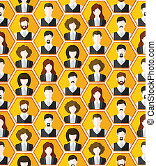 Seamless avatar characters pattern background