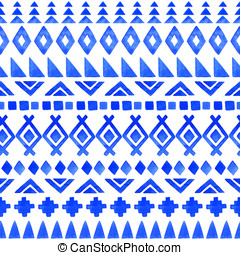 Seamless aztec pattern. - Watercolor ethnic seamless...