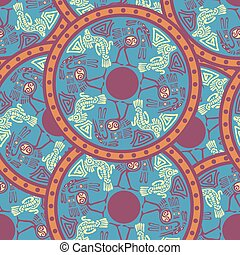 Seamless aztec pattern with herons.