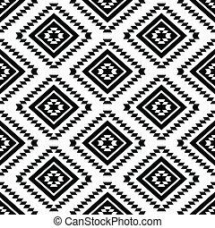 seamless, azteco, tribale, modello