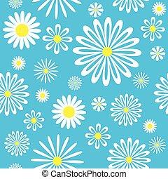 seamless, azul, chamomiles, pattern.