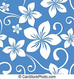 seamless, azul, hawai, patrón