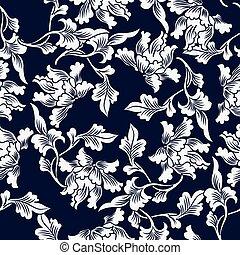 seamless, azul, japoneses, fundo, natureza, botanica, folha