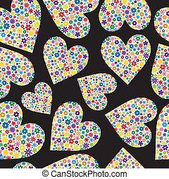 seamless, azulejo, de, flor, llenado, corazones
