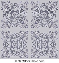 seamless, azulejo floral, padrão