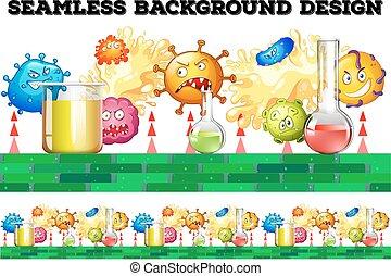 seamless, bägare, bakterie